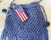 Flag Bag Clip, Patriotic Flag Clip Charm, Americana Flag Key Ring,  Independence Day Accessory,  Bag Tote Clip Keychain