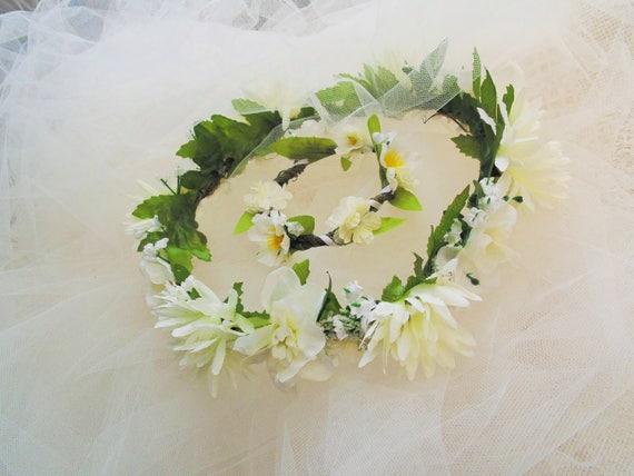 Boho beach white flower crown and bracelet set bride maid of like this item mightylinksfo
