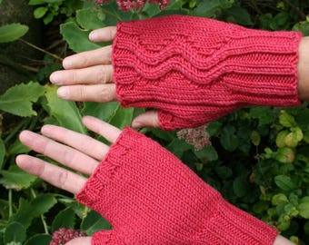 Knitting pattern for fingerless mittens