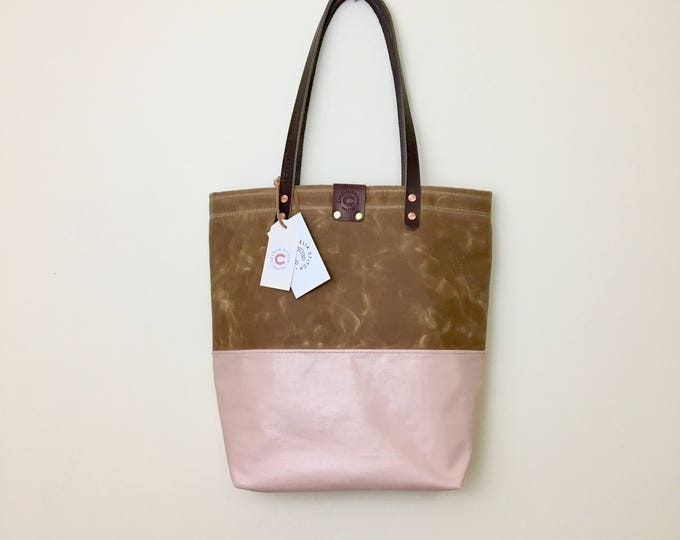 Colette - Blush Leather & Waxed Canvas Tote