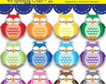 50% OFF Printable clipart Clip Art Digital PDF PNG File - 2 - A Sleepy Owl Rainbow Colors