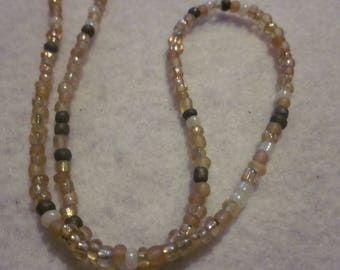 Multi Brown Seed Bead Necklace