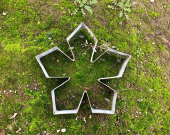 Snowflake | Giant Cookie Cutter | Christmas Decor | Handmade From Recycled Wine Barrel Metal Ring