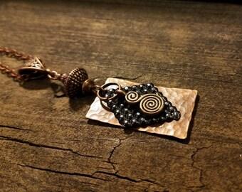 Boho Necklace, Copper Necklace, Pendant Necklace