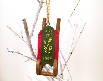Green Sled Ornament, Holiday Ornament, Sled Ornament, Christmas Ornament, Resin Ornament, Resin Sled Ornament