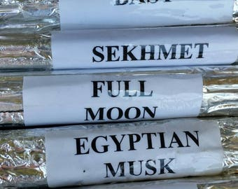 Egyptian Incense Bundle. Anubis. Isis. Bast. Sekhmet. Full Moon. Egyptian Musk. Sandalwood. Perfect For Meditations/Journeying/Channelling.