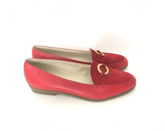 Vintage Red and Gold Tone Etienne Aigner Loafers US Women's Size 7.5 M