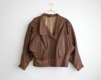 Vintage Brown Leather Jacket, Cropped Leather Jacket, 80s Batwing Jacket for Women Medium-Large