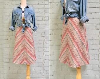 1970s striped wool skirt / 70s chevron stripe skirt / 1970s a-line midi skirt / red blue stripe skirt / size medium