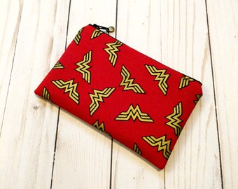 Wonder Women Gold Logo Small Zipper Pouch / RED