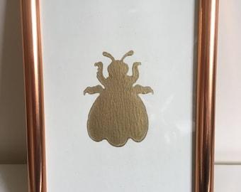 Bumble Bee Art Print - 6x4 - Home Decor - Gold - Copper Frame