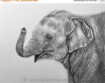 "20% off Baby Elephant, Original Pencil Drawing, Animal Art, Home Decor 16""x 13"" Asian Elephants Art,  Elephant Drawing"