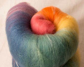Large Rainbow Gradient Batt with sparkle, perfect for spinning or felting (170227)