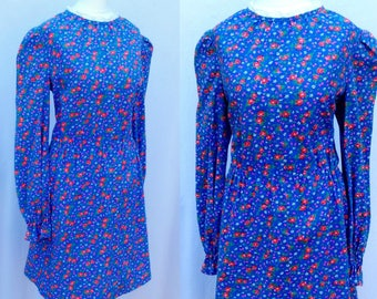 Vintage 70s Blue & Red Floral Rose Print Calico Hippie Prairie Folk Babydoll Mini Dress Medium-Large