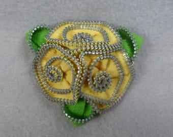 Yellow Rose Brooch, Zipper Brooch, Yellow Brooch, Yellow Pin, Zipper Pin, Zipper Art, , Flower Pin, Upcycled, Recycled, Repurposed