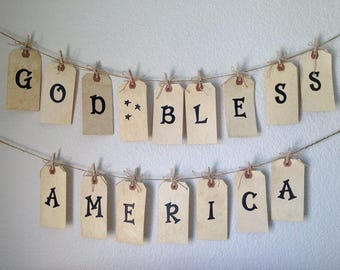 GOD BLESS AMERICA Banner. Shipping Tag Banner w/clothes pins and jute twine. Partriotic Banner.  American Banner. America Banner. Tag Banner