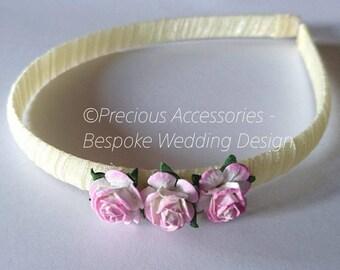 Pink & Ivory two tone 3 flower headband, Wedding Headband, Flower Girl Hair Band, Wedding Hair Accessories for Bridesmaids, Birthday