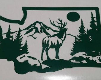 Washington State with Elk and Mt. Rainier Indoor Outdoor grade vinyl decal.