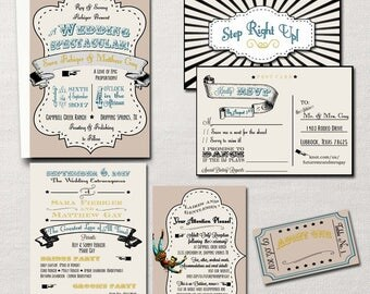 The Greatest Love of All Time ~Vintage Circus Carnival~ DIY Printable Wedding Invitation Suite