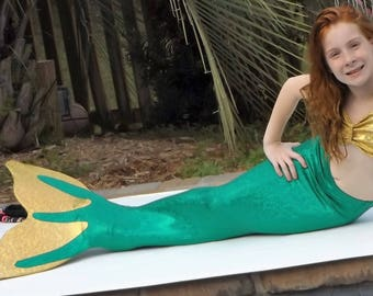 2-Color Mermaid Tail with Monofin. Mermaid Swim Tails