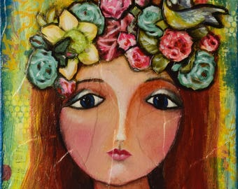 Gift for her, flower girl, flower painting, wall art, original art, spring decor, whimsical art, art on canvas, painting of a girl, quirky