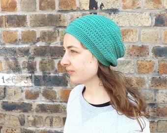cotton beanie, summer toque, lightweight hat, slouchy beanie, crochet hat, knitted beanie, boho beanie, womens hat, spring hat, hipster hat