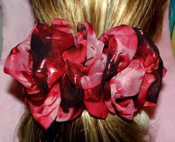 Becky Bows ~OOAK ROSETTE Barrette Hand crafted giant huge Scarf BIG hair bow Women or Girls red foil chiffon Christmas