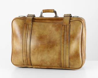 Vintage leather suitcase, travel suitcase, light brown leather, light brown suitcase, 60s leather suitcase