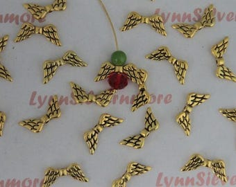 24 pcs - 21x6mm Angel Wing Beads Antique Gold  Finish Lead Free Pewter