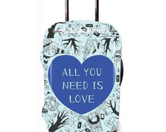Luckiplus Heart Luggage Cover Spandex Suitcase Cover Fits 18-32 Inch Luggage