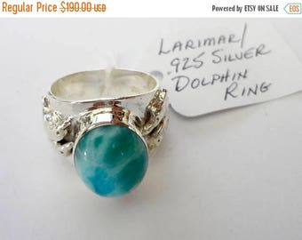 "ENDLESS SUMMER SALE Stunning Genuine Aaa Grade Larimar Men's ""Dolphin"" Ring .925 Sterling Silver  Free U.S. Shipping  U.S. Size 10 1/2"