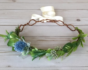 Succulent Flower Crown, Green Flower Crown, Baby Shower Crown, Maternity Photo Shoot Flower Crown, Boho Flower Girl, It's a Boy Flower Crown