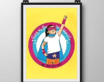 Girls Hero Art Print - Girl Super Hero Art - Art Print with Positive message - Art for Mixed Race Girls - Art gift for Girl - Girls Bedroom