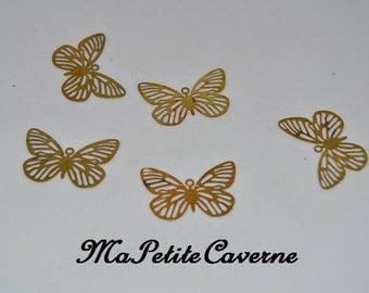 prints 2 Butterfly brass gold engraved 30x25mm