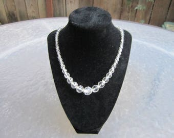 Vintage faceted glass crystal ball beads graduated necklace - estate jewelry