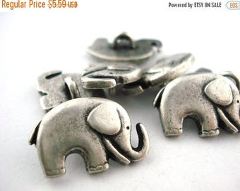 Summer Sale GOOD LUCK ELEPHANT Metal Buttons, Qty 4, Antique Silver Metal Button, 20mm Great for Leather Wrap Clasps and Clothing, Elephant