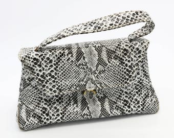 Snake Skin Top Handle Bag