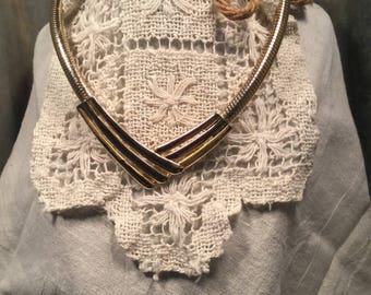 Vintage Gold Tone V shaped necklace