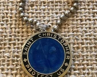 Vintage 1990's St. Christipher Deep Sea Blue & Black Enamel Pendant Necklace