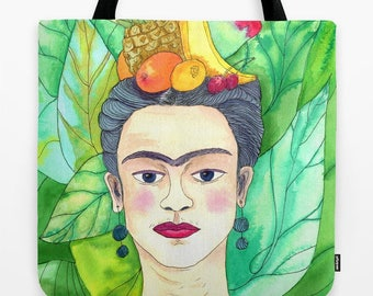 Frida Kahlo Tote Bag - Tropical Artist tote - unique bag for art teacher, gift, gym, pool shopping book tote, colorful