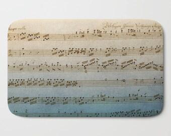 Handwritten Music Bath Mat -  music decor, Mozart sheet music, blue beige, aged, vintage music, musician decor, Plush mat,  classic