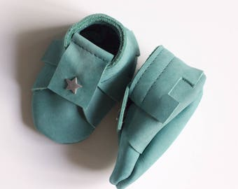 Baby boy, 1-3 months booties leather baby booties boy slippers turquoise nubuck leather leather mini booties