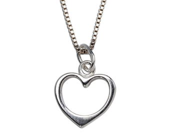 Sterling Silver Hollow Heart Charm Necklace with Gift Box  (BCN-Hollow Heart)