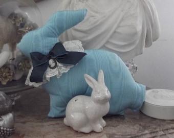 LARGE turquoise cushion rabbit