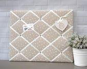 Beige and ivory spot print | fabric | memo board | memory board | notice board | bulletin board | 40 x 50cm