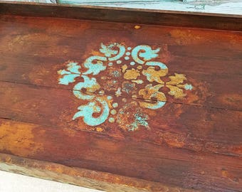 Tray - rustic decor - wooden tray - ottoman tray - large turquoise tray