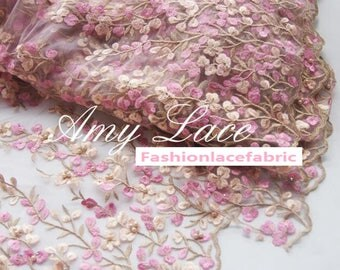 """Pink Embroidered fabric, Net fabric, Scallop lace, Bridal lace, Wedding lace fabric -FSAY-by 1/2m-49""""wide/125cm"""