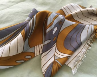 Fab Vintage Vera Long Silk Scarf Fringe Double Layer Gray Gold 70's Hand Screened