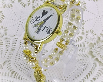 Eiffel Tower watch quartz bracelet watch pearl glass beads