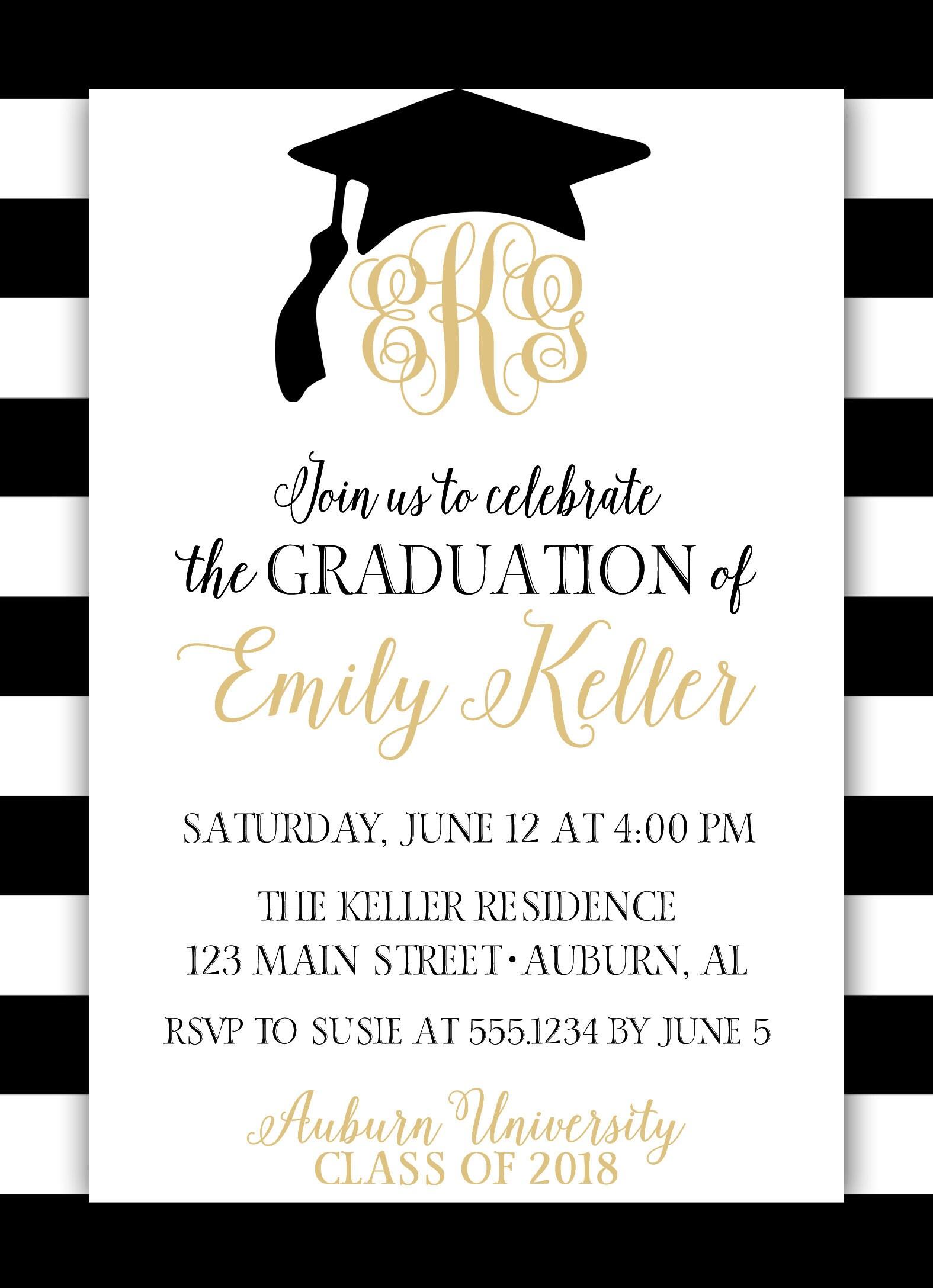 Graduation Invitation, Monogram Graduation Invitation, Black and ...